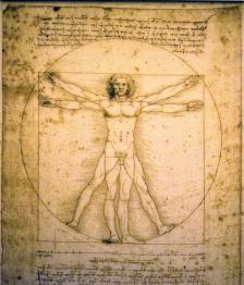 Витрувианският човек на Леонардо да Винчи. Художникът е в центъра на този текст заради представителността му в артистичния свят, от който всъщност очакваме най-голяма грижа към думите и образите